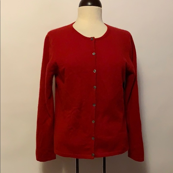 croft & barrow Sweaters - Croft & Barrow Cashmere Red Button Cardigan